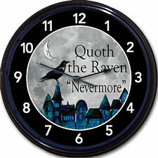 Edgar Allan Poe Steampunk Goth Gothic Wall Clock Quoth The Raven Never More 10""