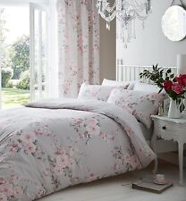 Single Grey, Pink & White Canterbury Floral Print Roses Duvet Cover Set.