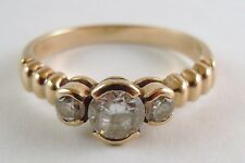 100% Genuine Vintage 9k Solid Yellow Gold Dress Ring Sz 7.5 US