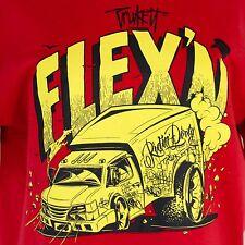 Truckfit Flex'n Graphic T-Shirt Graffiti Truck Large Red Yellow Cotton EUC
