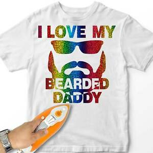 Boy Iron-On T-Shirt Transfer Love My Bearded Daddy Fathers Day Gift Design