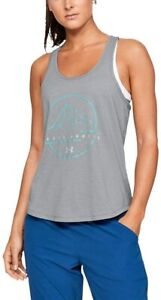 NWT Under Armour Gray S Outdoor Logo Steel Heather Heat Gear Tank Top