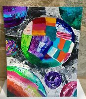"""Original Colorful Textured Abstract Painting 16x20"""" Panel By Jamie Freier"""
