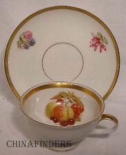 JAEGER china HARVEST pattern CUP & SAUCER Set Apple & Cherries