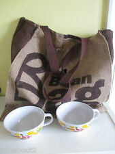 2x Nescafe Cafe Cups & Jute Hessian Shopping Bag Very Good Clean Condition