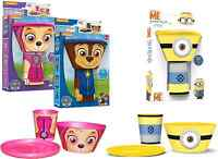 CHILDRENS STACKING CUP/MUG BOWL & PLATE MEAL DINNER SET PAW PATROL & MINIONS