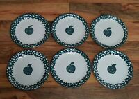 Tienshan Folk Craft Set of (6) Apple Green Sponge Salad/Dessert Plates Stoneware