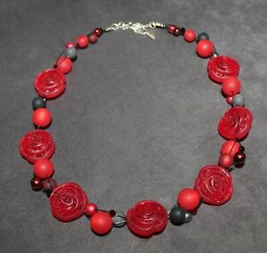 Adi-Modeschmuck ; Rosen rot;silber, anthrazit; einzigartig; neu