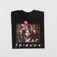 Horror Friends Pennywise Michael Myers Jason Voorhees Halloween Black T-Shirt