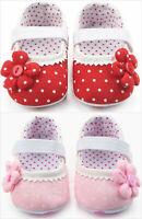 NEW Baby Girl Khaki Pink Ruffle Flower Mary Jane Crib Shoes 0-6 6-12 12-18 M