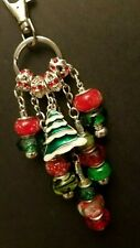 "Merry Christmas Tree Red Green Lampwork Beads Bag Purse Key Chain Charm Fob 5.5"""
