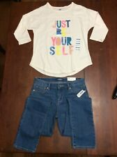"""Old Navy Girls Jeans Sz 12 and """"Just Be Yourself� White Top Sz L (10-12) Nwt"""