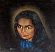 Gervais Waikiki 1961, Vintage Hawaiian Girl Portrait, oil on black velvet