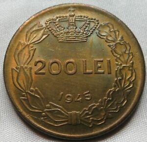 ROMANIA 200 lei 1945 UNC Carol II. #B73