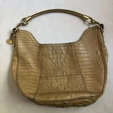 Brahmin Tan Croc Melbourne Hobo Shoulder Bag