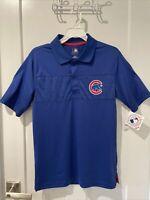Licensed MLB Chicago CUBS Men's Baseball Polo Shirt Short Sleeve Blue Sz S NWT