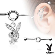 Multi Paved Gem Playboy Bunny 316L Surgical Steel Industrial Piercing Barbell