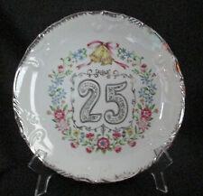 25th Wedding Anniversary Plate Silver Trim Bells Flowers Enesco Japan