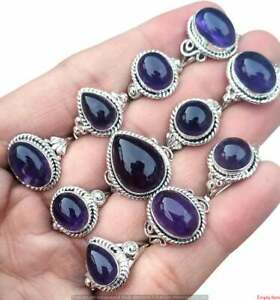 Amethyst Gemstone 925 Sterling Silver Plated 5pcs Wholesale Lot Rings BW-09