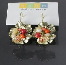 BOHM Flower Semi-Precious Glass Earrings Vintage HEIRLOOM Gold Coral Peach BNWT
