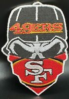San Francisco 49ers~Iron On Skull with Bandana Patch~Free Shipping from the USA~