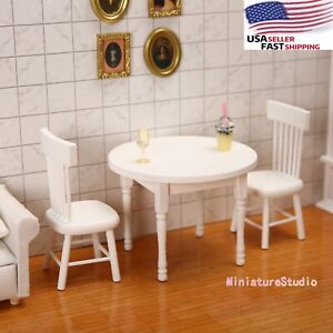 Dollhouse Miniature 1:12 White 3pcs Dining Room Round Table Chair Set Furniture