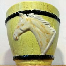 Signed Studio Kiln Art Vase Ceramic Pottery Horse Head Yellow Barrel Handcrafted