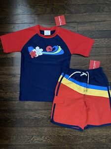Hanna Andersson Boys Swimsuit Hawaii Stripes Navy Blue Red Size 6 (120) NWT