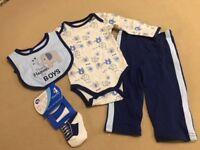 Baby Gear Thank Heaven...Boys 4-piece (Pants Bodysuit Bib Socks) 3-6 Months