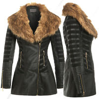 Size 8 10 12 14 16 18 NEW Womens BIKER JACKET FAUX LEATHER FUR Long ZIP PU Coat
