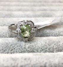 NEW!💚 Peridot Size 6 Light Green Stone White Topaz Ring Bomb Party RBP2895 2895