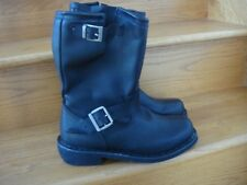 Men's Demonia Black Leather Dingo Engineer Pull On Boots Size 8 D New