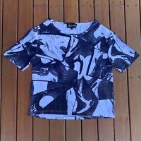 Jaggar Australian Designer Abstract TShirt Black & Grey Casual Soft Size S