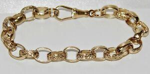 Solide 9ct Gelb Gold auf Silber 7.75 Zoll Damen Oval programmiert Armband ~