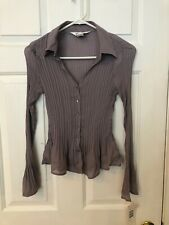 ALLISON TAYLOR WOMEN'S GRAY PLEATED LONG SLEEVE BUTTON TOP SIZE S NWT