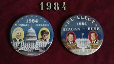 """1984 Political Campaign Pin Button Jugate Mates Mondale/Ferraro & Reagan/Bush 3"""""""