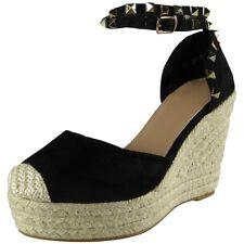 Womens Ladies Studded Ankle Strap Espadrilles Platform Shoes Wedge Sandals Size