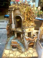 Presepe casolare rustico 50x40h70 con luce e fontana  San Gregorio Armeno Napoli