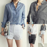 Woman Girl College Harajuku Style T-Shirt Button Pocket Long Sleeve Cotton Tops