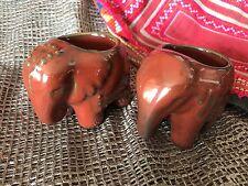 Old Porcelain Elephant Tea Candle Holder Set, a Matching Pair