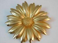 Vintage Huge Gold tone Sunflower Daisy 3-D Petal Flower Brooch Pin 8k 38