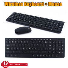 2.4G USB Optical Wireless Keyboard And Mouse Cordless For PC Laptop BLK AU SALE