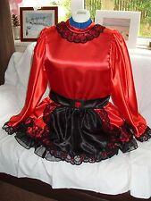 Sissy ~ Maids ~ Adulto Bambino Unisex ~ ~ CD/TV ~ FETISH SATIN ROSSO, NERO organza Dress & Comunità