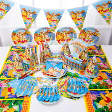 89Pcs Winnie Pooh Kid Birthday Party Supply Tableware Decoration Plates Mask Hat