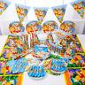 89Pcs Winnie Pooh Kids Birthday Party Supplies Tableware Decoration Plates Cups