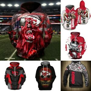 Kansas City Chiefs Hoodie Football Pullover Hooded Sweatshirt Fans Casual Jacket