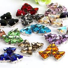36pcs Sew On 10mm triangle rhinestone cut glass cabochons crystal point back diy