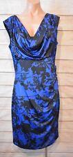 Montique Dress Sz 14 Large Blue Black Pencil Shift Stretch Dress