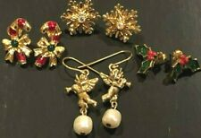 4 Vintage Avon Christmas Earrings REDUCED PRICE