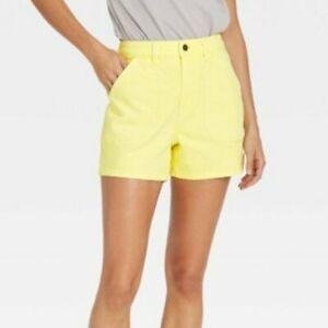 Women's High-Rise Carpenter Shorts - Universal Thread Yellow Size 6 NWOT